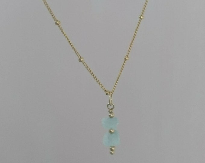 Aquamarine pendant necklace, raw gemstone on gold fill satellite chain, March birthday gift for her