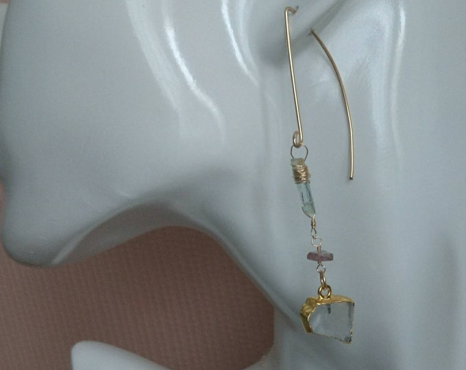 Aquamarine earrings with watermelon tourmaline and moonstone, multi gemstone drop earrings, raw stone jewellery