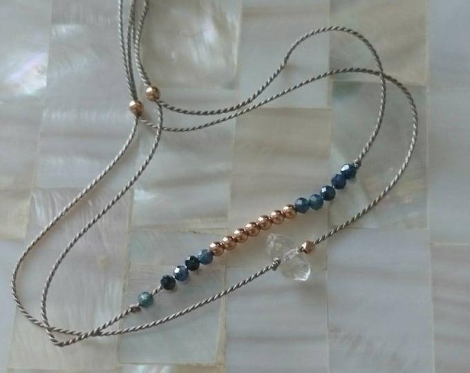 Set of two stacking bracelets, Sapphire bracelet and herkimer diamond bracelet on silk cord, minimal style