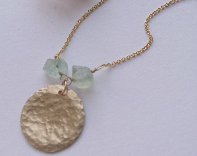 Raw aquamarine necklace, hammered sun charm, summer jewellery