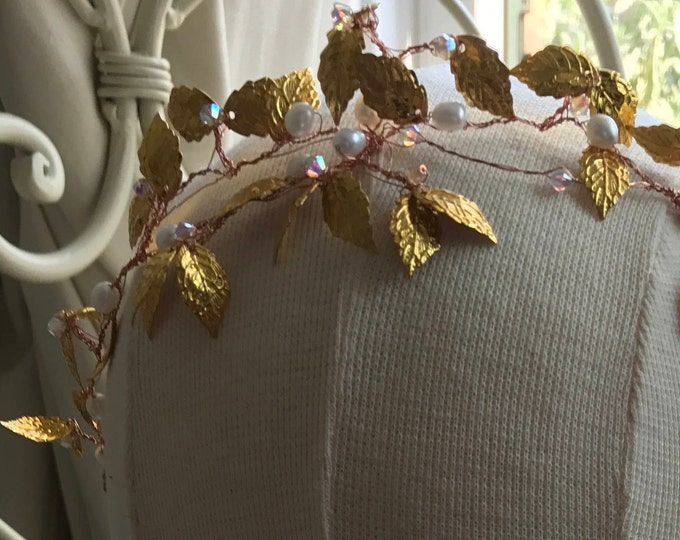 Goddess headband,goddess headdress, gold leaf headpiece, hairvine bridal,Grecian, gold leaves, freshwater pearls and Swarovski.