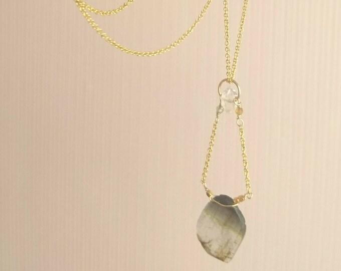 Multi coloured tourmaline pendant, contemporary gemstone necklace