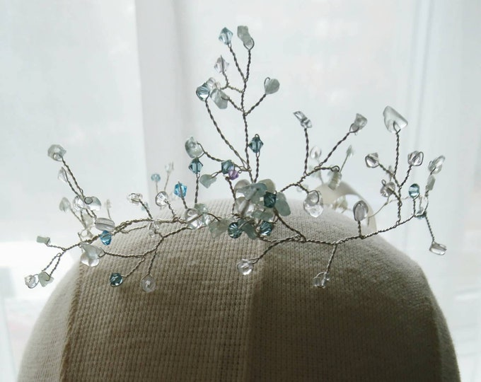 Snow queen tiara, ice queen crown, crystal crown, winter wedding, bridal hair accessories, bride winter, bridesmaid hair accessory, gift