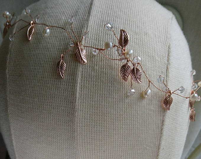 Rose gold hair vine, bridal headdress,  gold leaves, forehead band, summer party, boho wedding, woodland wedding, forehead band, hair vine