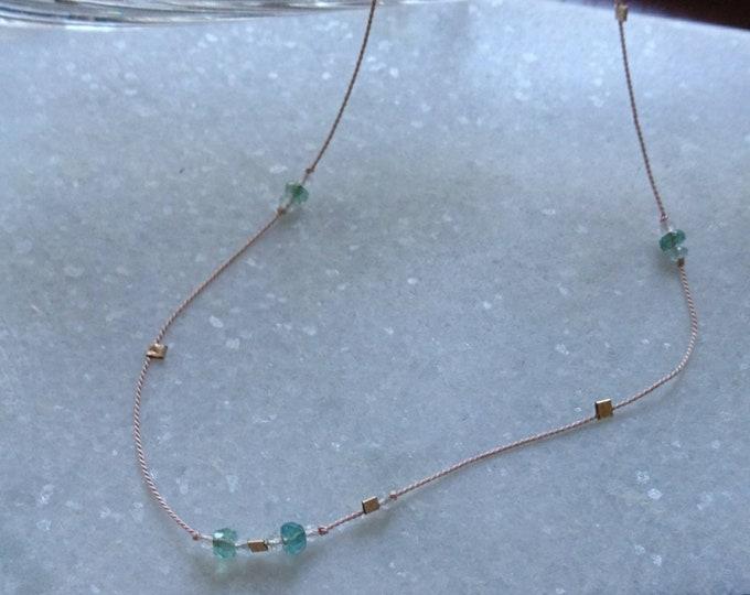 Silk cord necklace with emerald, moonstone and aquamarine, multi gemstone necklace, May birthstone gift for her, summer jewellery, everyday