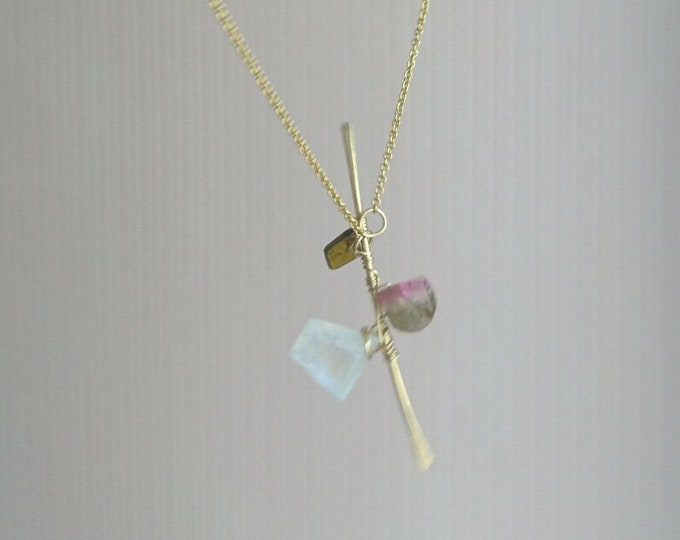 One of a kind moonstone and watermelon tourmaline pendant, bar necklace with gemstones