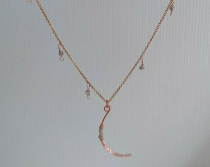 Crescent moon necklace with tiny raw pink diamond charms, handmade jewellery, April birthstone, raw diamond modern jewelry, boho luxe
