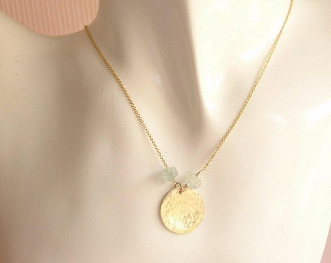 Raw aquamarine necklace, hammered sun charm, summer jewellery