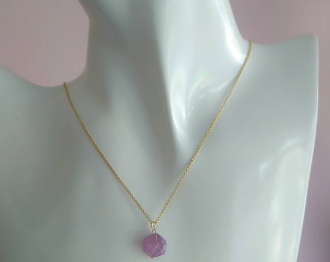 Raw pink sapphire necklace in 14k gold fill