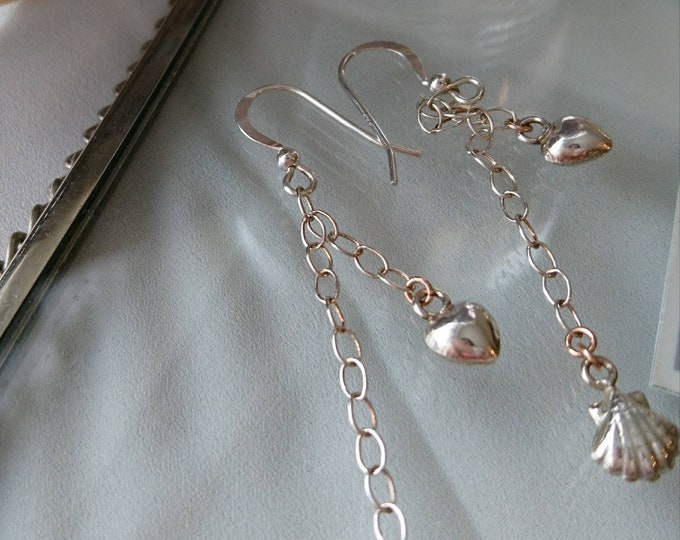 Beach wedding silver charm drop earrings, summer holiday earrings, heart drop earrings, long dangle sterling silver earrings