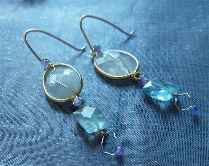 Summer dangle earrings, one of a kind handmade jewelry, boho luxe, moonstone, aquamarine  and amethyst statement jewellery, summer elegance
