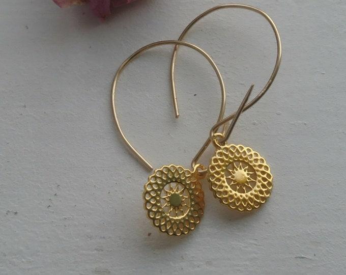 Threader earrings with sun charms