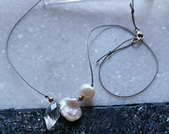 Pearl and crystal necklace, minimal freshwater pearl silk cord necklace,June birthstone,wedding jewellery,brid
