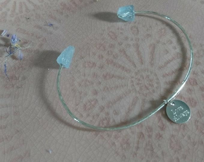 Aquamarine bangle with personalised charm/tag