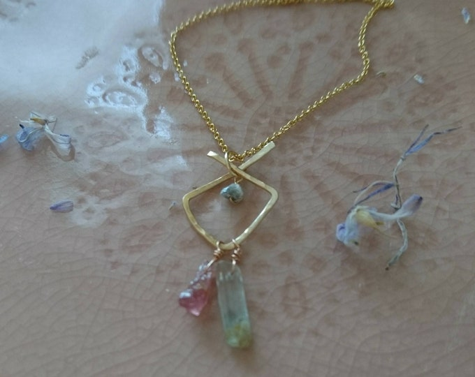 Raw Watermelon tourmaline and aquamarine pendant with a raw grey diamond on 14k gold fill chain, artisan necklace