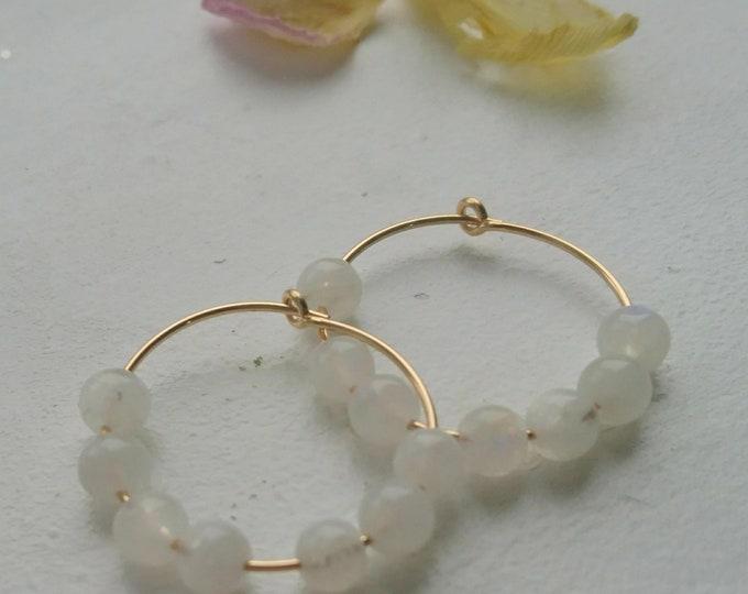 Moonstone hoop earrings, 14k gold fill hoops with gemstones