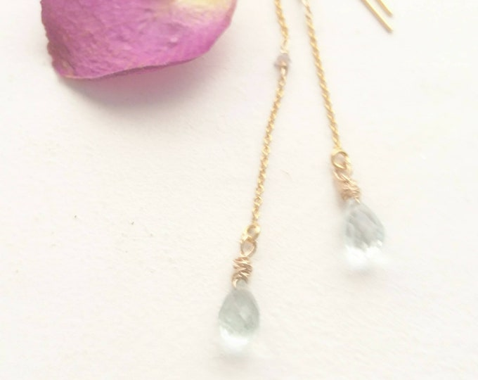 Aquamarine drop earrings with raw pink diamonds