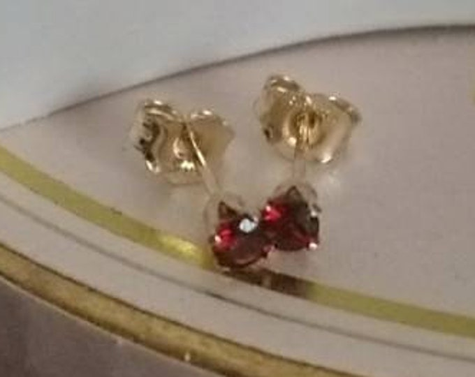 Tiny 3mm garnet studs in 14k gold fill
