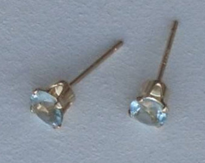 3mm aquamarine earrings, birthday gift for her, March birthstone, stud earrings, minimal jewelry, dainty earrings, sky blue, bridal jewelry
