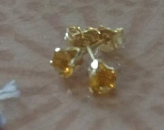 3mm citrine studs, November birthday gift for her, birthstone jewellery, tiny yellow stone push back earrings