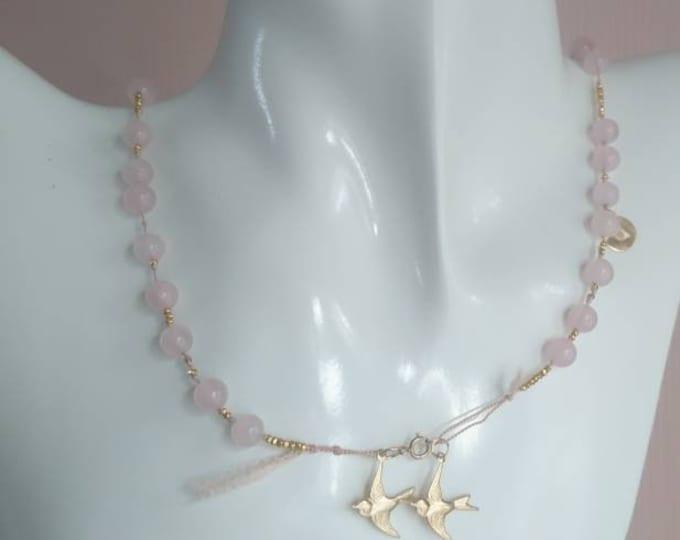 Rose quartz mala beads necklace/wrap bracelet with swallow charms