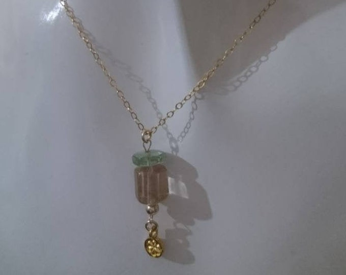 Aquamarine necklace with morganite and gold vermeil style flower charm