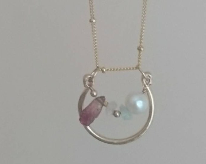 Multi function jewellery, ring and necklace in one, multi gem jewellery, horseshoe with gems necklace, chain and charm ring