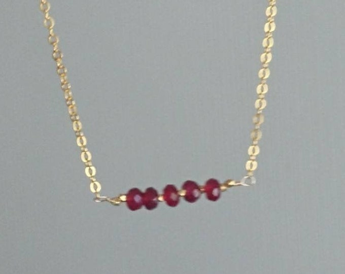 Dainty ruby necklace, July birthstone  jewellery, bar necklace, modern minimal jewelry, simple layering necklace, luxe jewelry
