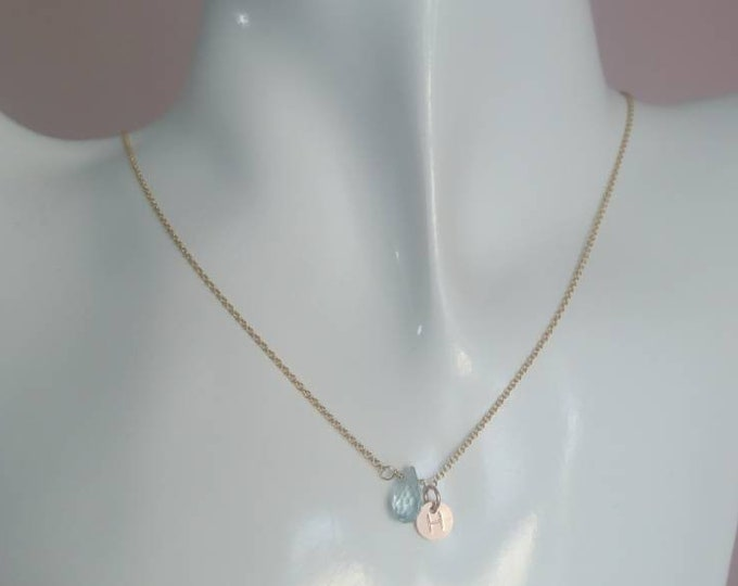 Tiny faceted aquamarine pendant on 14k gold fill chain with 14k rose gold filled tag