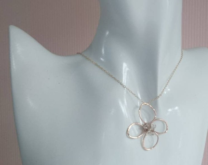Flower pendant with herkimer diamonds