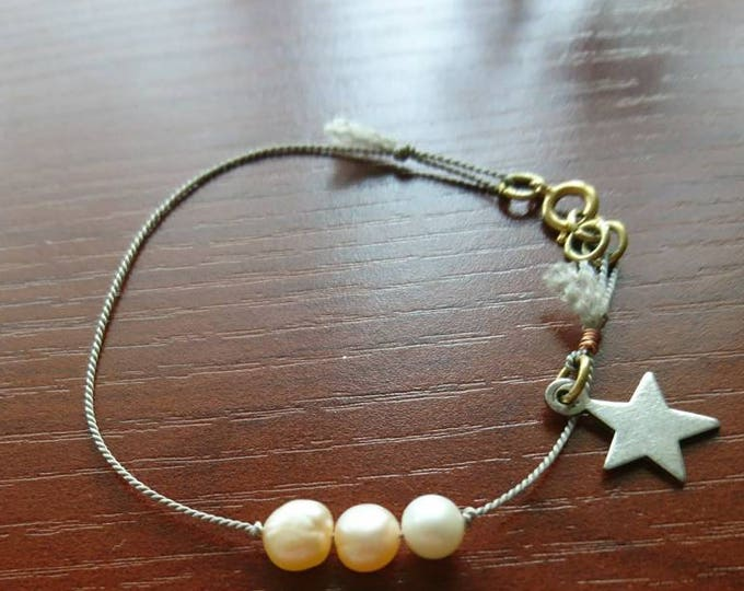 Pearl three wishes silk cord bracelet , freshwater pearl with silver star boho, friendship layering jewellery, stacking bracelet