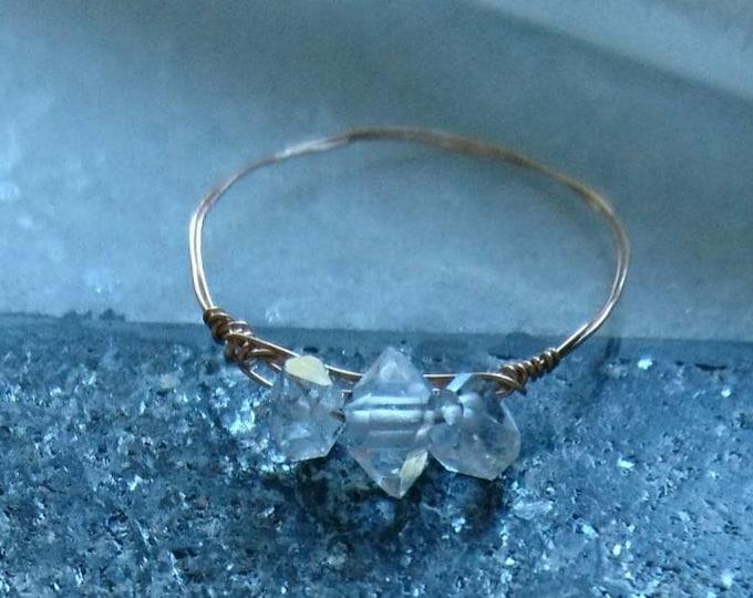 Herkimer diamond rose gold ring, three little words, April birthday gift for her, April birthstone,anniversary present, minimalist jewellery