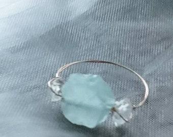 f30ddbc72 Raw aquamarine and herkimer diamond ring, simply chic jewellery, dainty  modern jewellery, gift for best friend birthday,March birthstone