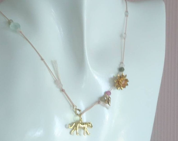 Girls necklace with leopard charm and multi tourmaline on silk cord