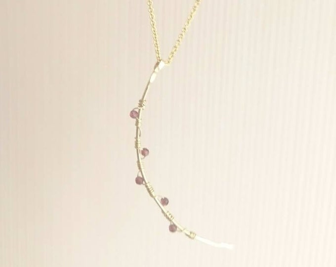 Crescent moon necklace, moon with garnets, January birthstone, new moon jewellery