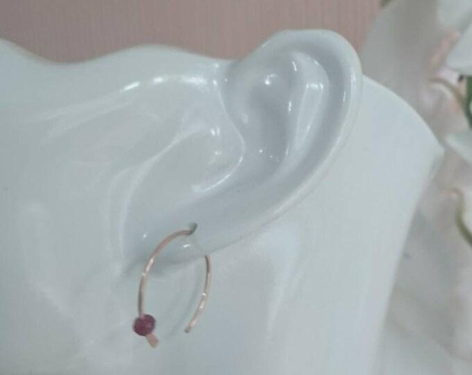 Ruby earrings, small open hoops with July birthstone
