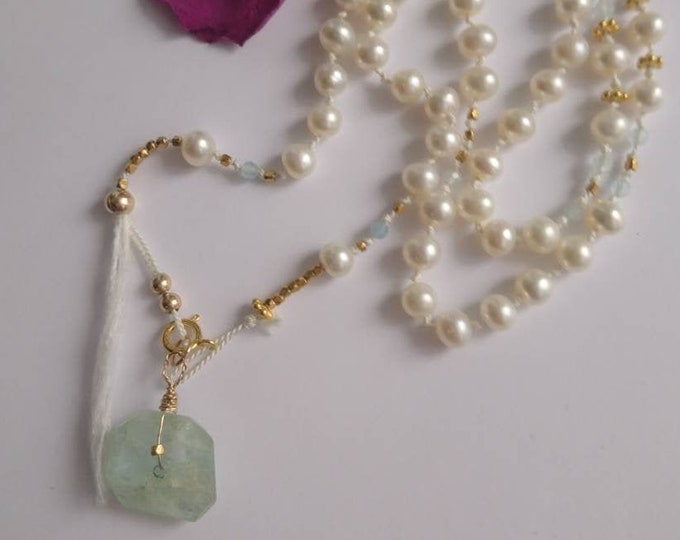 108 Mala bead necklace  with aquamarine and pearls