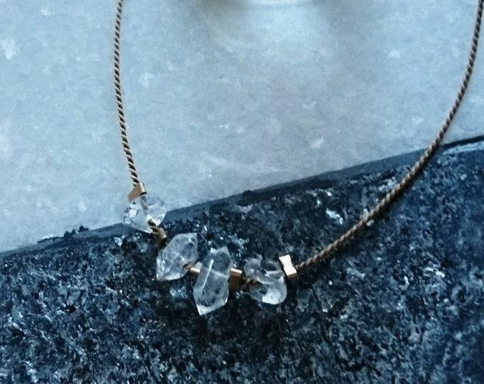 Herkimer diamond silk necklace , diamond minimal jewelry, jewellery with crystals, silk cord jewelry, boho luxe vibe