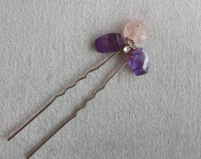 Amethyst and rose quartz hair  accessory, Downton costume, vintage wedding, vintage bride, gemstone hair accessories