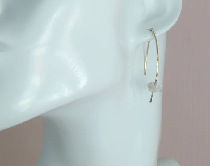 Asymmetrical diamond earrings, herkimer threader earrings in 14k gold fill