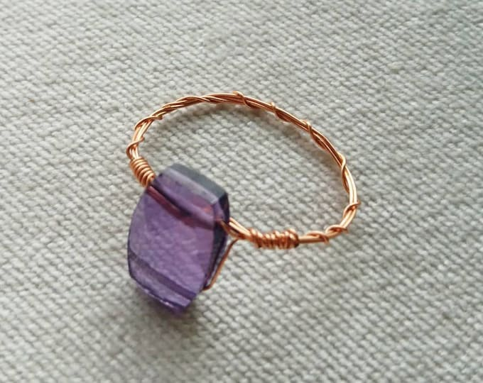 Amethyst and copper ring, dainty wire ring, purple ring, February birthstone, Arabian nights, dainty ring,minimalist, gift for her