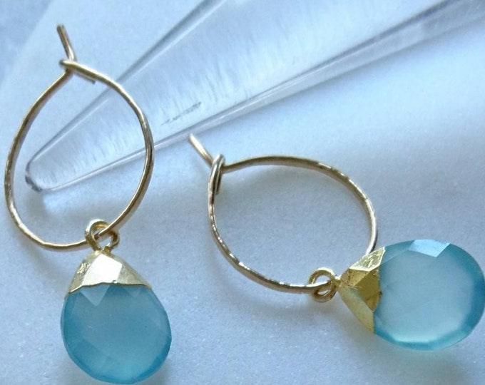 Chalcedony earrings, gold hoops, dainty hoop earrings with blue gemstone, gemstone gold earrings, vivid blue jewelry, birthday gift for her