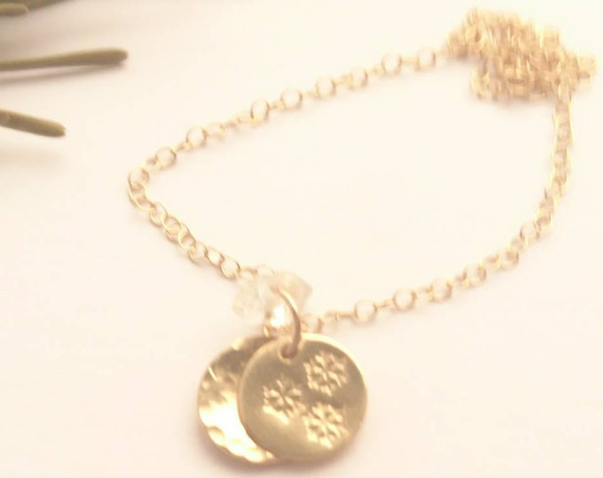 Christmas charm bracelet in 14k gold fill, snowflake charm jewellery