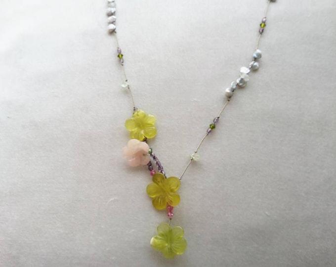 Silk cord necklace, serpentine, pearl and aquamarine necklace,multi gemstone lariat necklace,semi precious silk cord jewellery,gift for her
