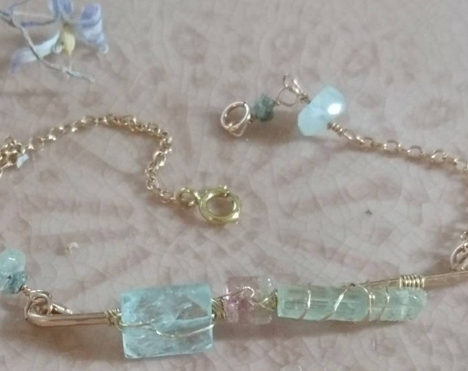 Aquamarine and watermelon tourmaline wire wrapped bar bracelet, raw gemstone jewelry