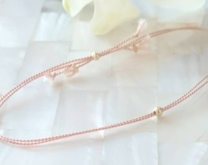 Elegant cord bracelet with a single 14k gold bead, luxe friendship bracelet, skinny stacking jewelry, chic minimal bracelets, feminine