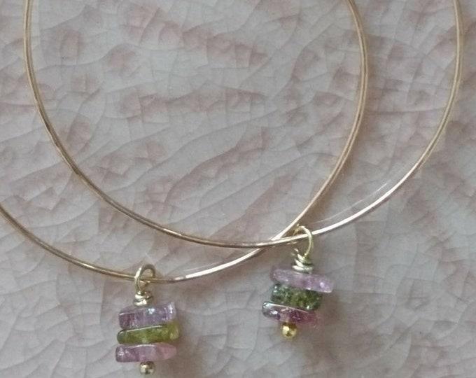 Watermelon tourmaline earrings, tourmaline hoops, chic summer jewellery, modern feminine hoop earrings, boho elegant, pretty earrings