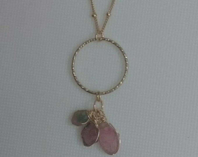 Gold fill pendant necklace with three watermelon tourmaline drops