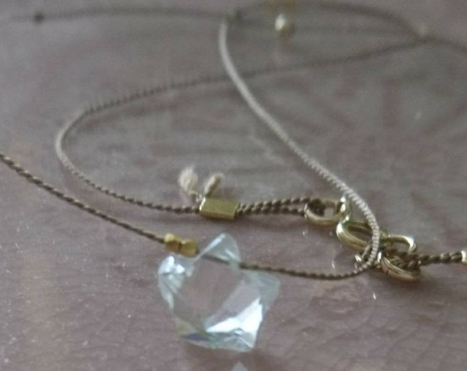 Star necklace, faceted rock crystal cord necklace, celestial jewellery, minimal style layering