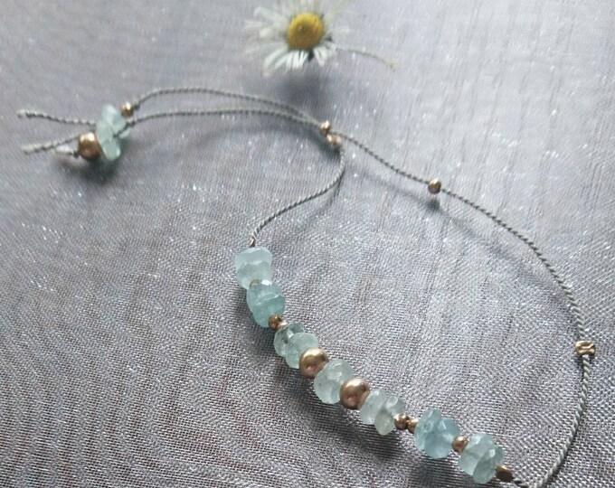 Aquamarine bracelet with gold beads, friendship bracelet, best friend gift, Christmas gift for her, wedding jewellery, bridesmai